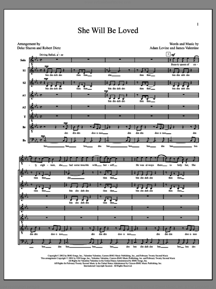 She Will Be Loved sheet music for choir (a cappella) by Deke Sharon, Adam Levine, Anne Raugh, James Valentine and Maroon 5. Score Image Preview.