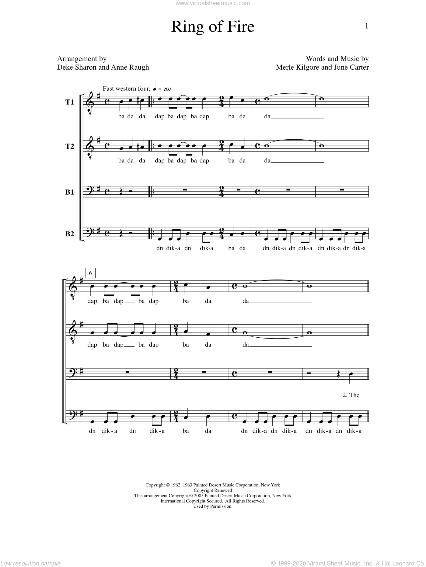 Ring of Fire sheet music for choir by Deke Sharon, Anne Raugh and Johnny Cash, intermediate. Score Image Preview.