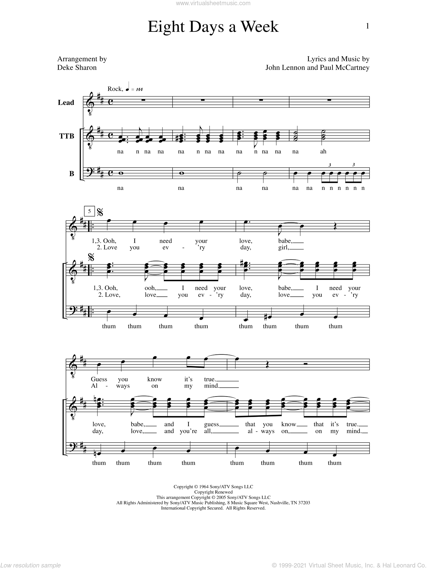 Eight Days A Week sheet music for choir by Deke Sharon, Anne Raugh, John Lennon, Paul McCartney and The Beatles. Score Image Preview.