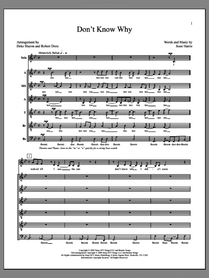 Don't Know Why sheet music for choir by Deke Sharon, Anne Raugh and Jesse Harris, intermediate skill level
