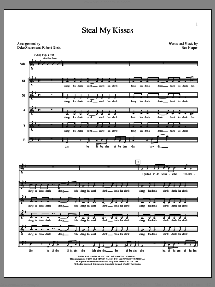 Steal My Kisses sheet music for choir by Deke Sharon, Anne Raugh and Ben Harper, intermediate skill level