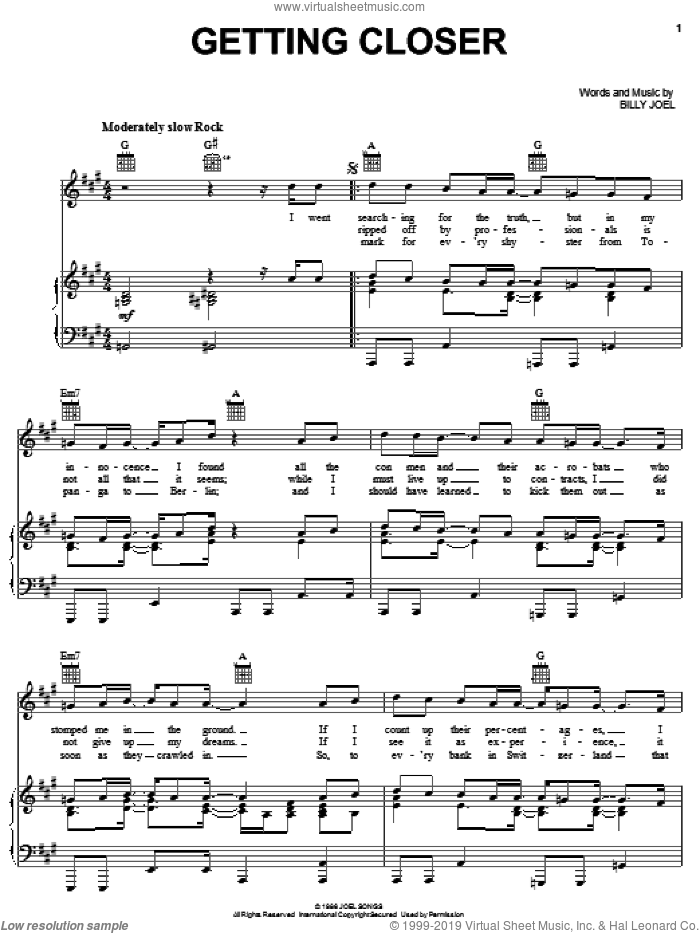 Getting Closer sheet music for voice, piano or guitar by Billy Joel, intermediate. Score Image Preview.