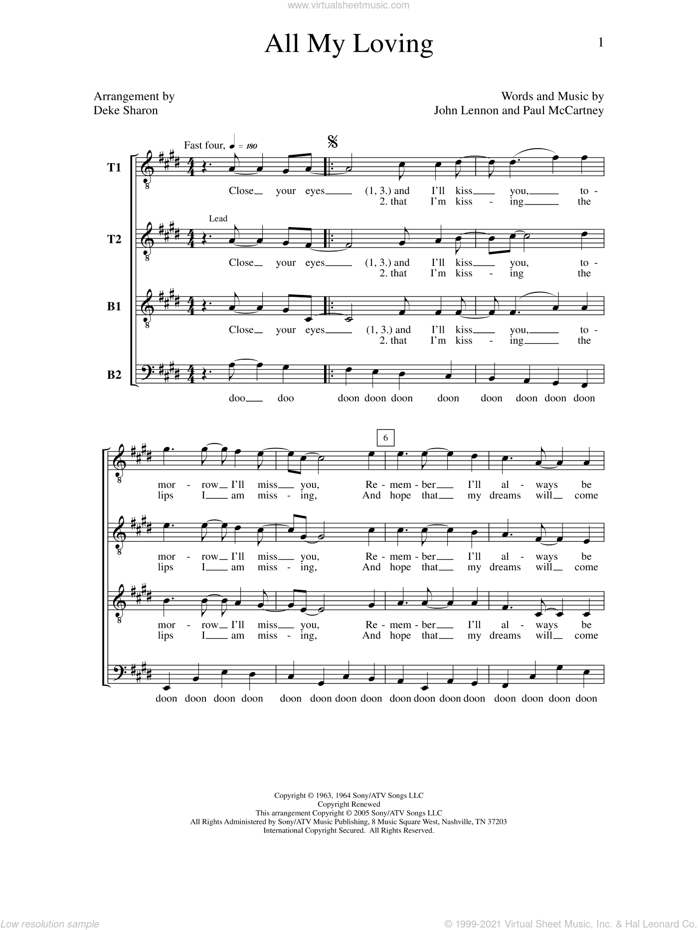 All My Loving sheet music for choir by Deke Sharon, Anne Raugh, John Lennon, Paul McCartney and The Beatles, intermediate. Score Image Preview.