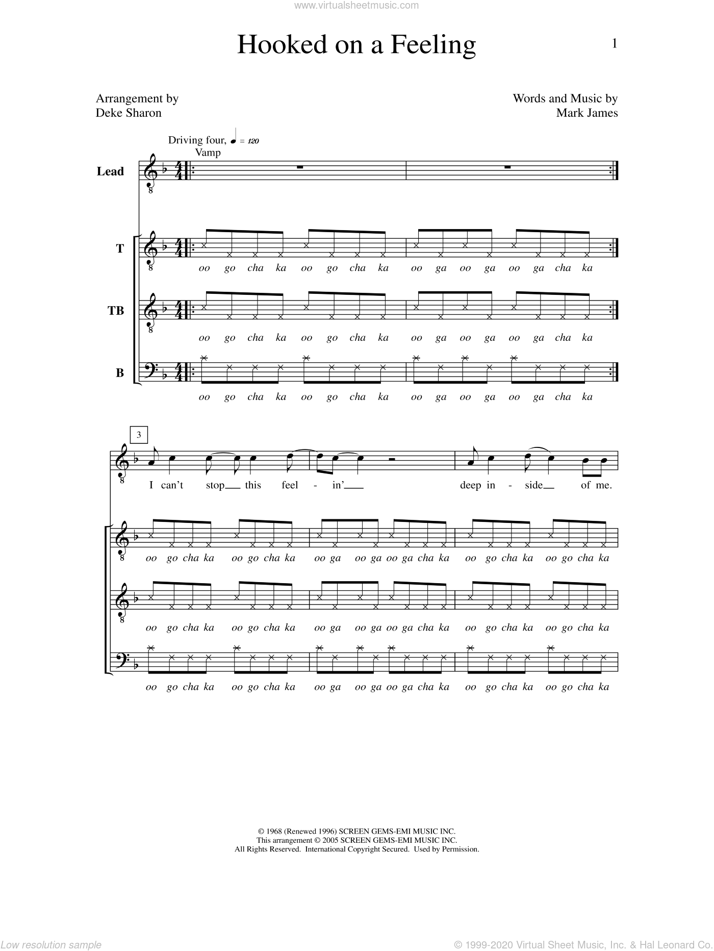 Hooked On A Feeling sheet music for choir (a cappella) by Deke Sharon, Anne Raugh and Mark James. Score Image Preview.