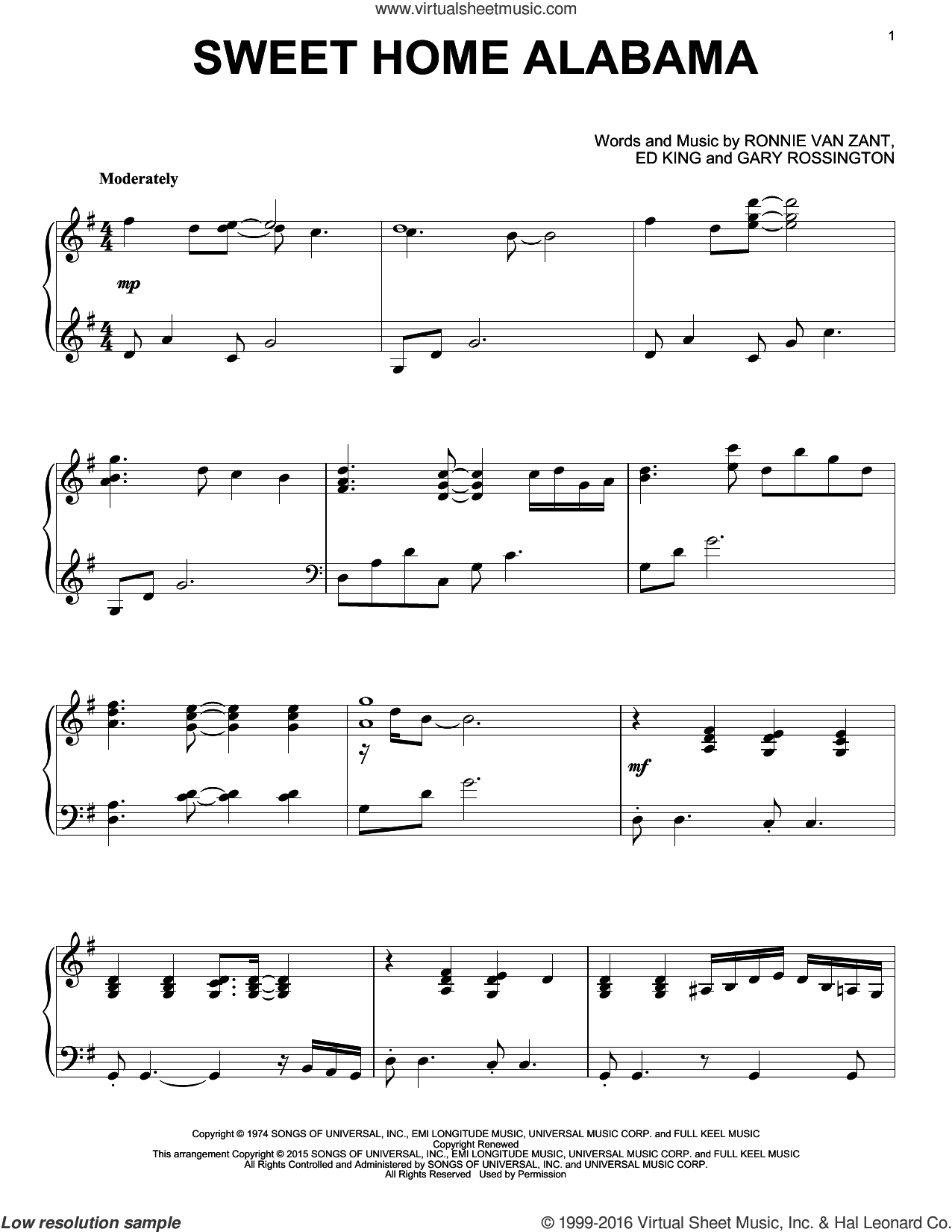 Sweet Home Alabama sheet music for piano solo by Lynyrd Skynyrd, Alabama, Edward King, Gary Rossington and Ronnie Van Zant, intermediate piano. Score Image Preview.