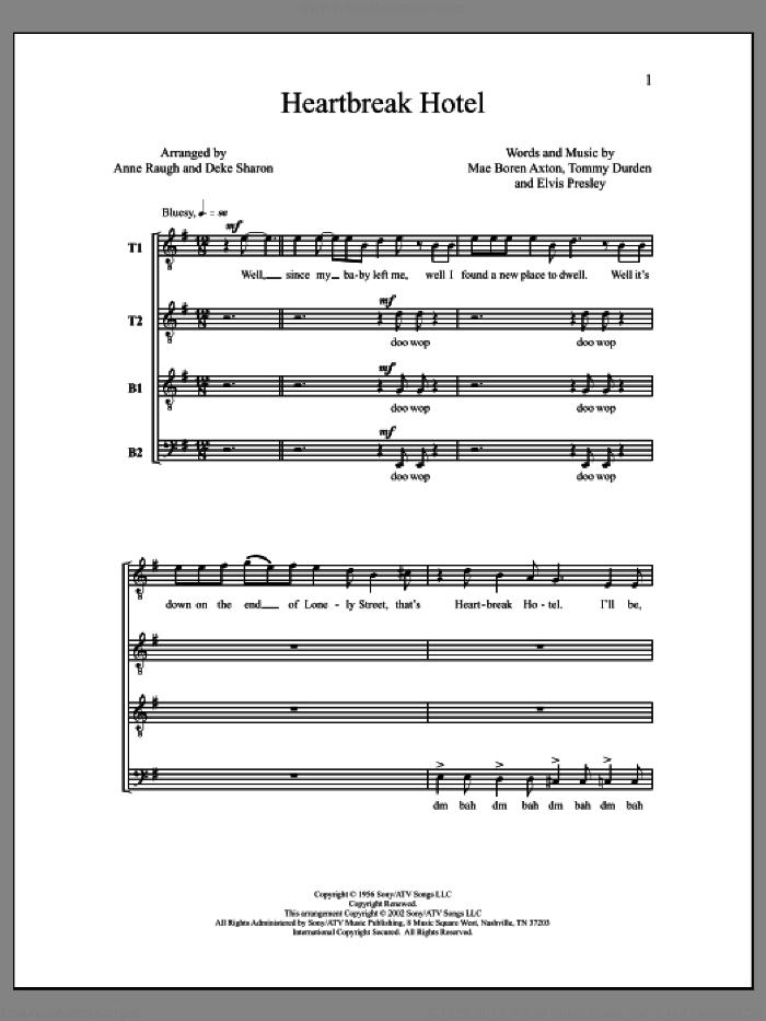 Heartbreak Hotel sheet music for choir by Deke Sharon, Anne Raugh and Elvis Presley. Score Image Preview.