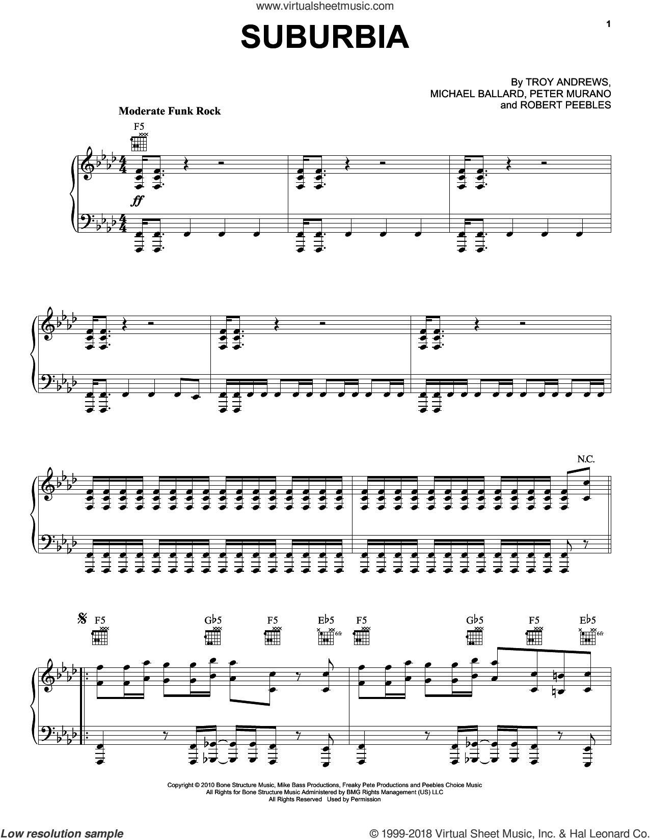 Suburbia sheet music for voice, piano or guitar by Trombone Shorty, Michael Ballard, Peter Murano, Robert Peebles and Troy Andrews, intermediate skill level