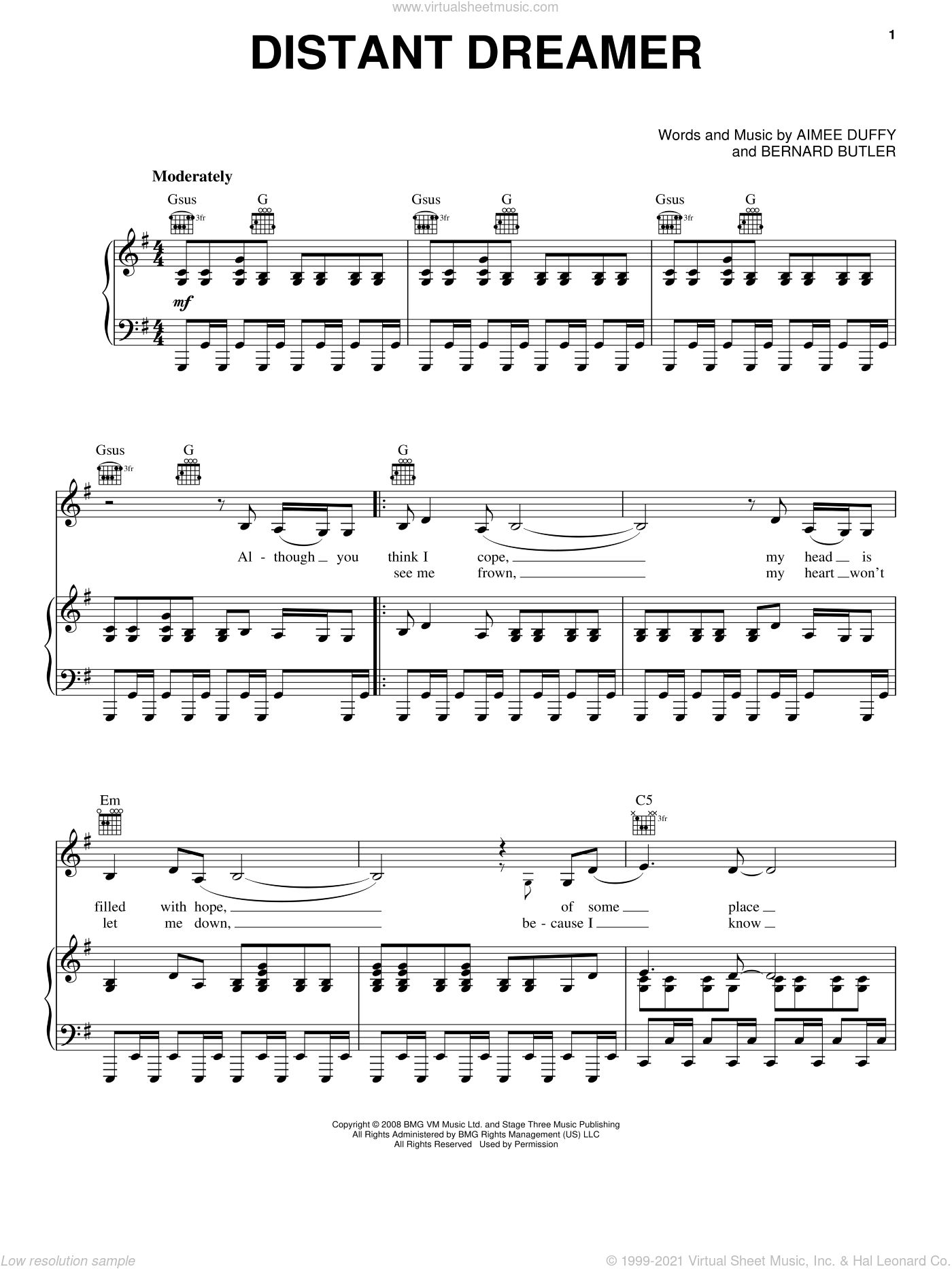 Distant Dreamer sheet music for voice, piano or guitar by Duffy and Bernard Butler. Score Image Preview.