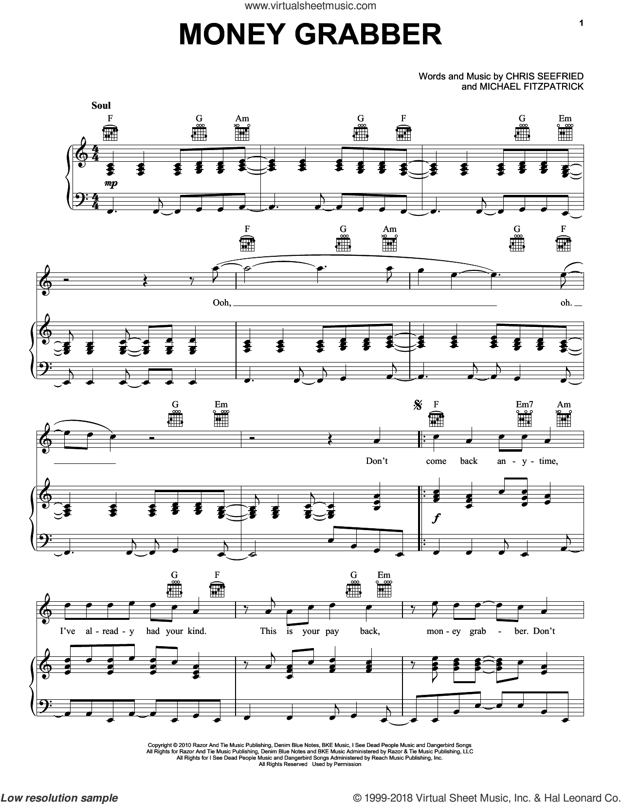 Money Grabber sheet music for voice, piano or guitar by Fitz And The Tantrums, Chris Seefried and Michael Fitzpatrick, intermediate skill level