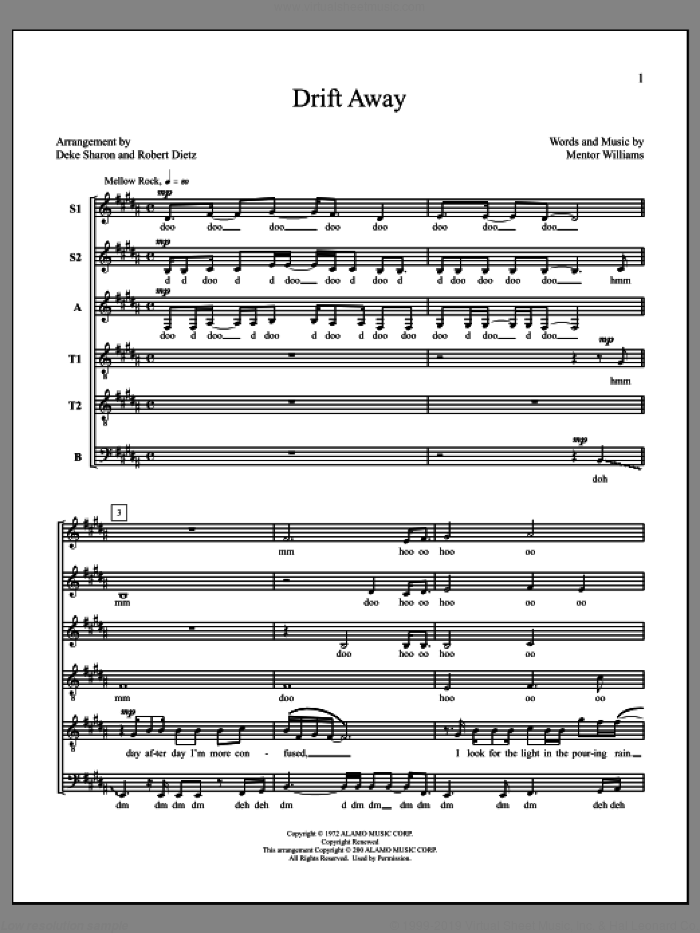 Drift Away sheet music for choir by Deke Sharon, Anne Raugh, Dobie Gray and Mentor Williams, intermediate skill level