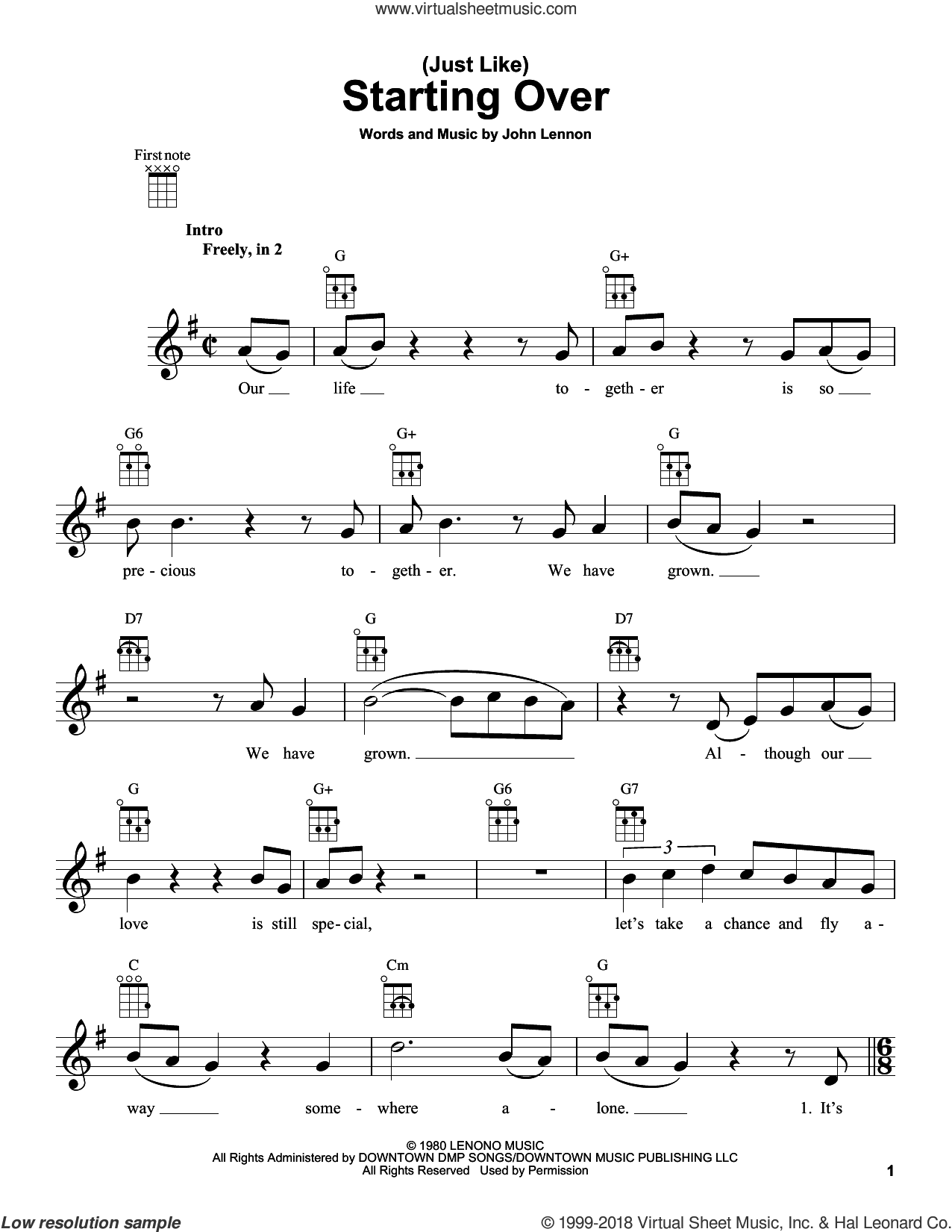 (Just Like) Starting Over sheet music for ukulele by John Lennon, intermediate skill level