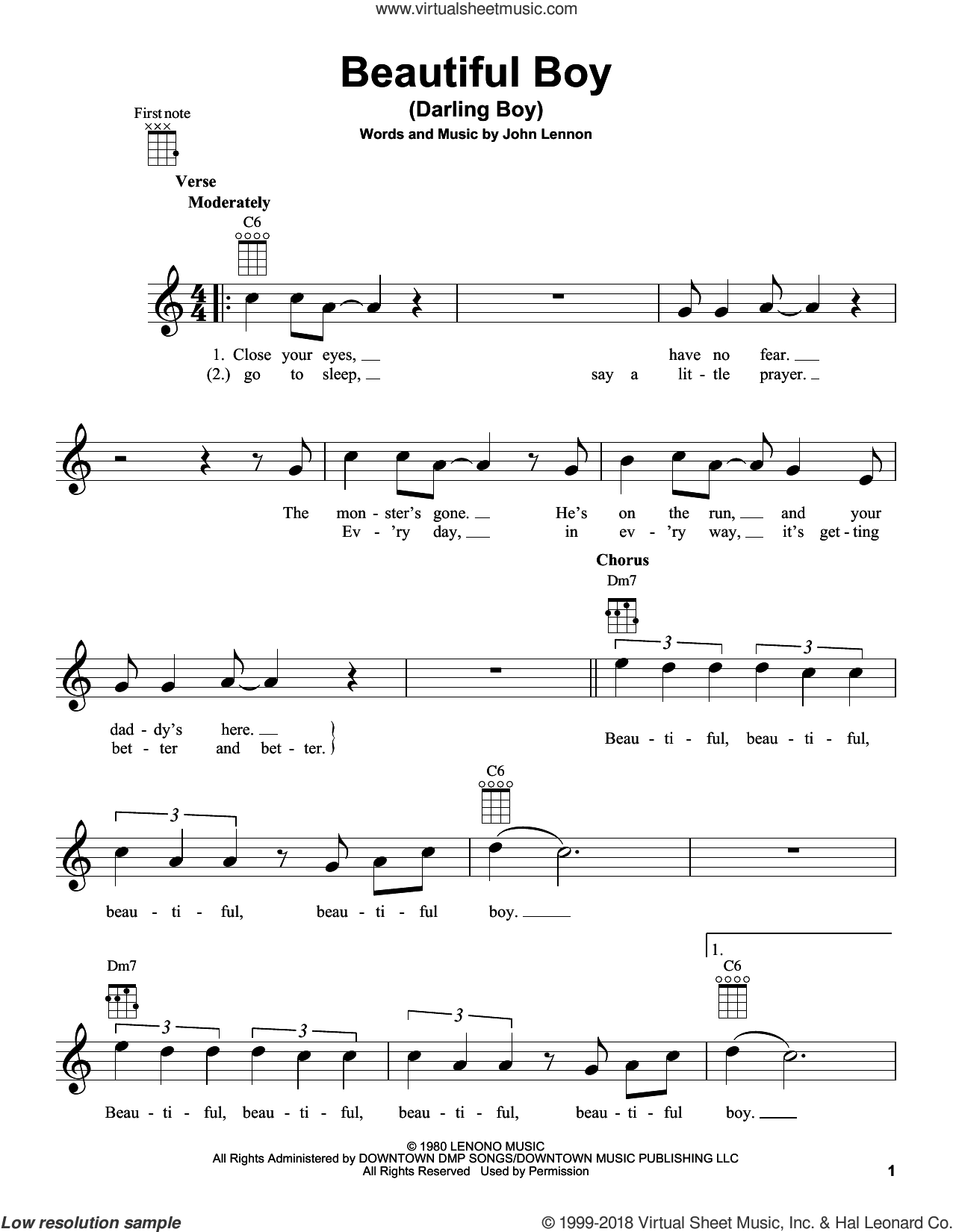 Beautiful Boy (Darling Boy) sheet music for ukulele by John Lennon, intermediate skill level