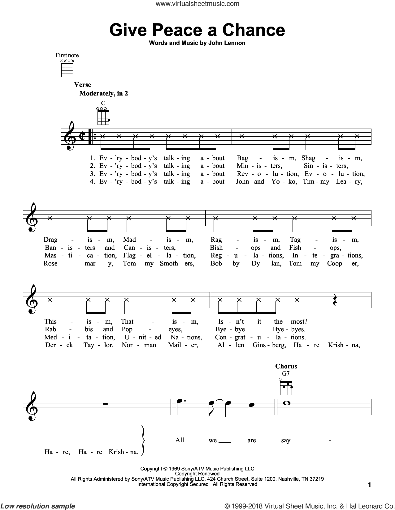 Give Peace A Chance sheet music for ukulele by John Lennon and Plastic Ono Band, intermediate skill level