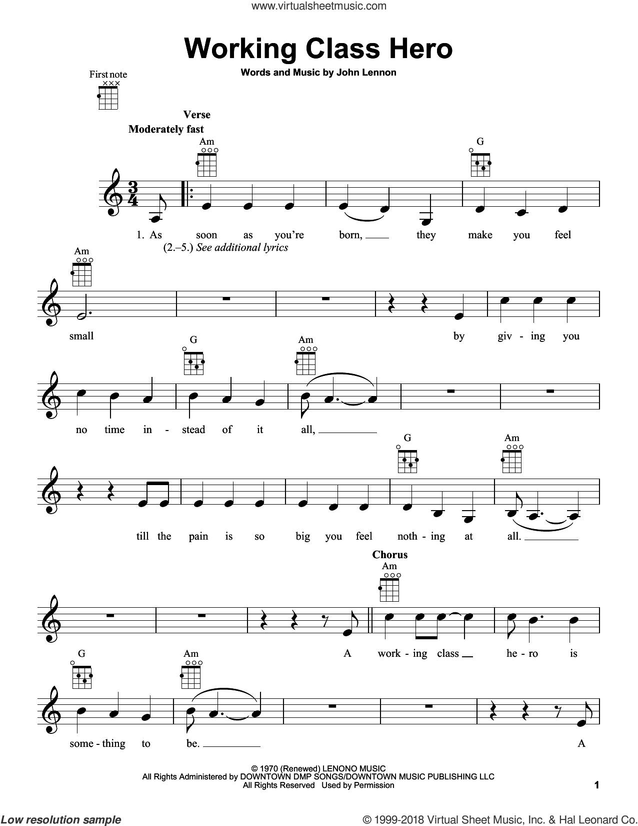 Working Class Hero sheet music for ukulele by John Lennon and Green Day, intermediate skill level
