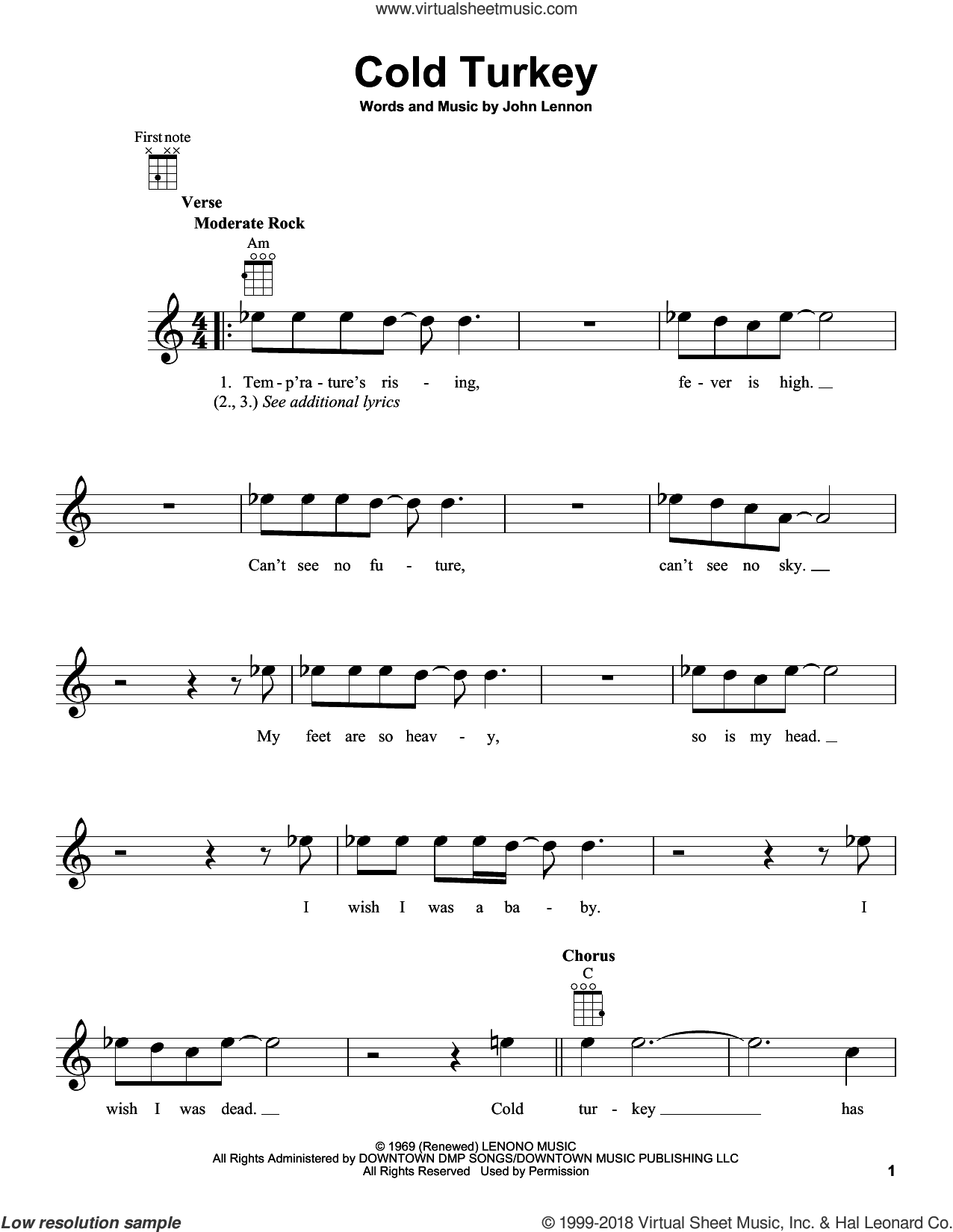 Cold Turkey sheet music for ukulele by John Lennon and Plastic Ono Band, intermediate skill level