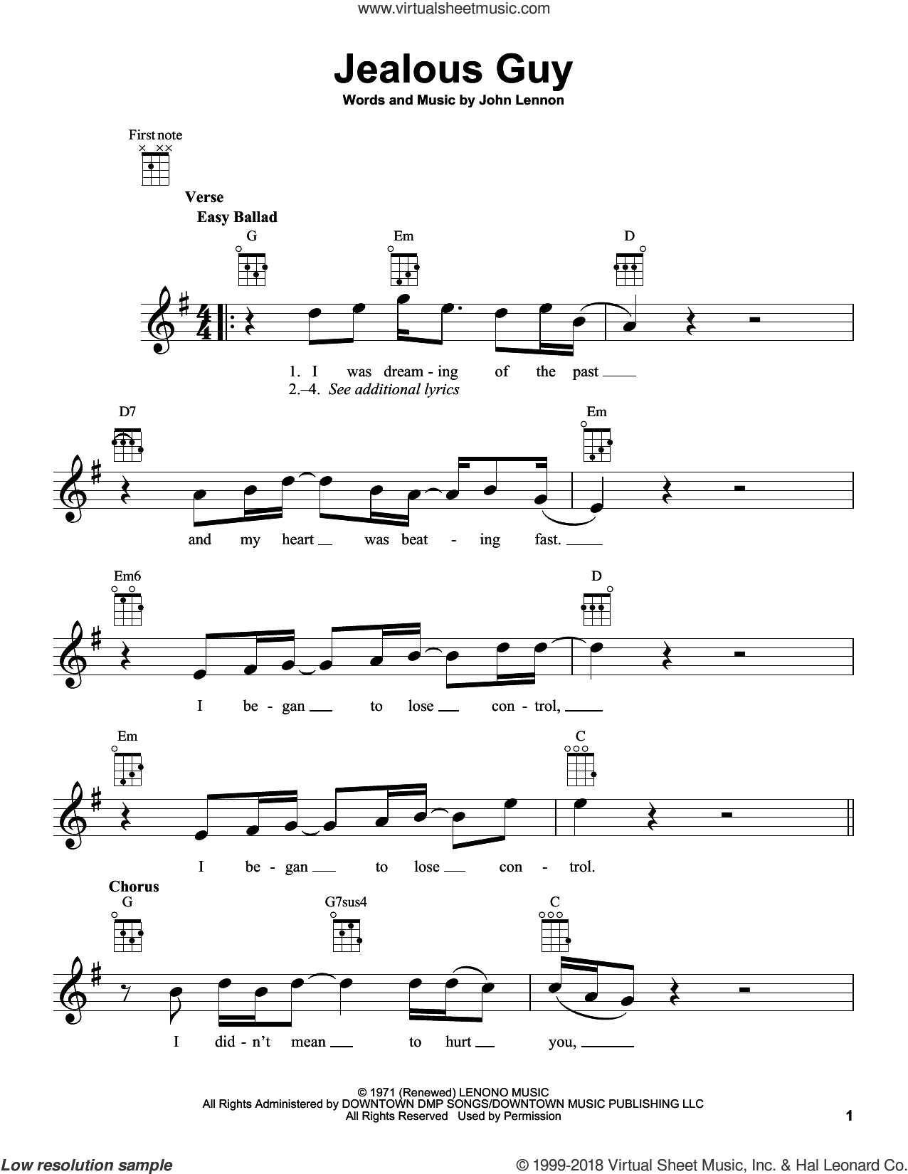 Jealous Guy sheet music for ukulele by John Lennon, intermediate skill level
