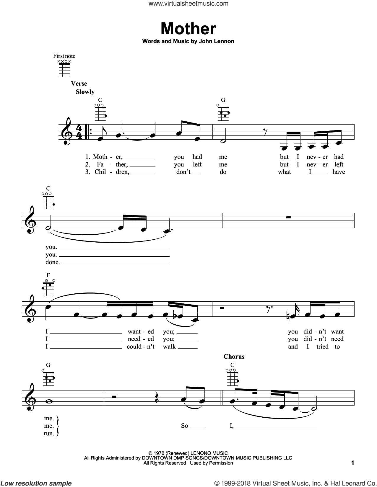 Mother sheet music for ukulele by John Lennon, John Lennon and Yoko Ono and with the Plastic Ono Band, intermediate skill level