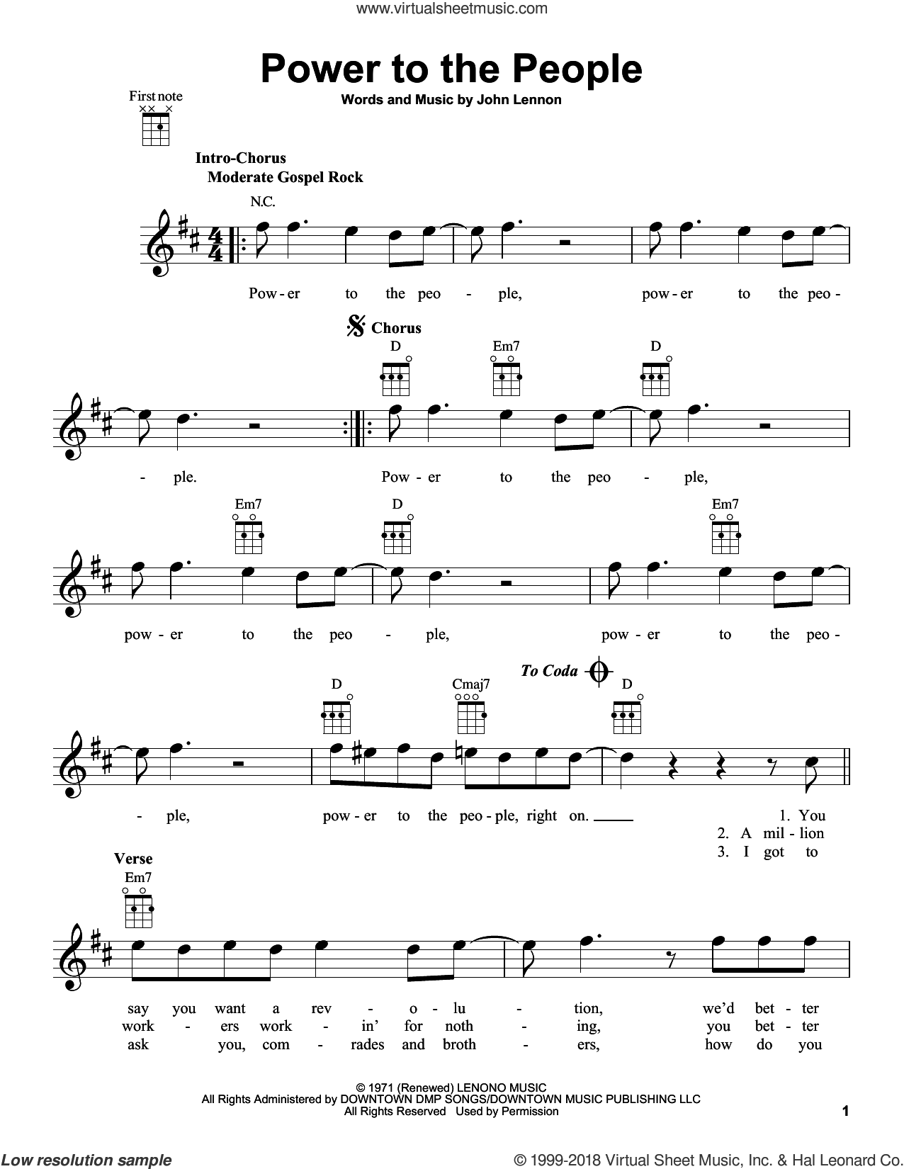 Power To The People sheet music for ukulele by John Lennon, John Lennon and Yoko Ono and with the Plastic Ono Band, intermediate skill level
