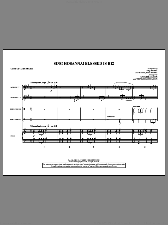Sing Hosanna! Blessed Is He! (COMPLETE) sheet music for orchestra/band by Tom Fettke, Christian Gregor, Hymntune, Jeanette Threlfall and Thomas Grassi, intermediate skill level