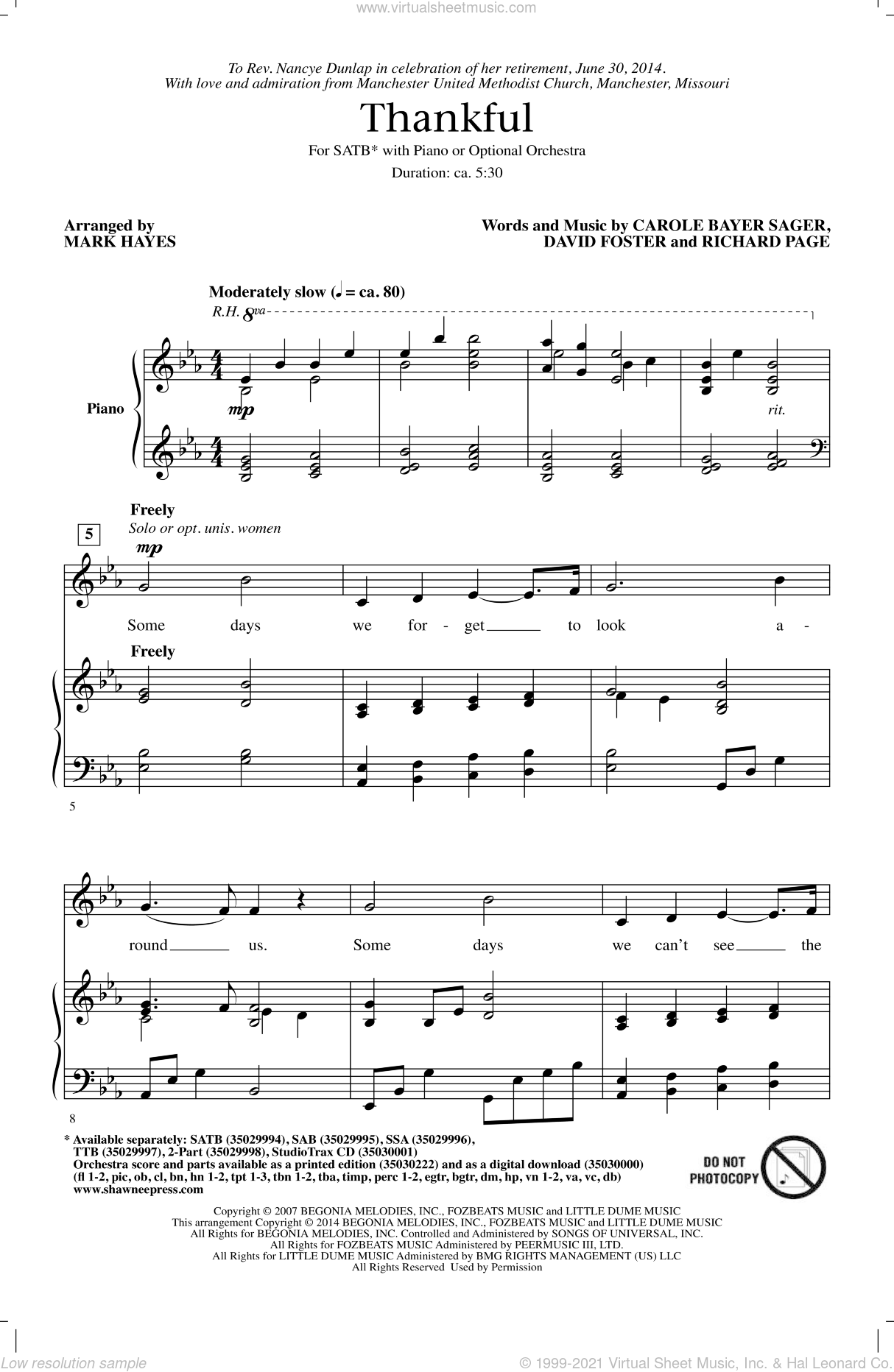 Thankful sheet music for choir (SATB) by David Foster, Mark Hayes, Josh Groban, Carole Bayer Sager and Richard Page, Christmas carol score, intermediate choir (SATB). Score Image Preview.