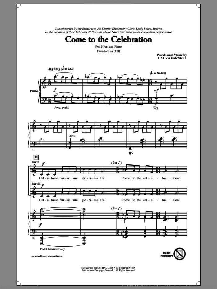 Come To The Celebration sheet music for choir (duets) by Laura Farnell, intermediate duet. Score Image Preview.