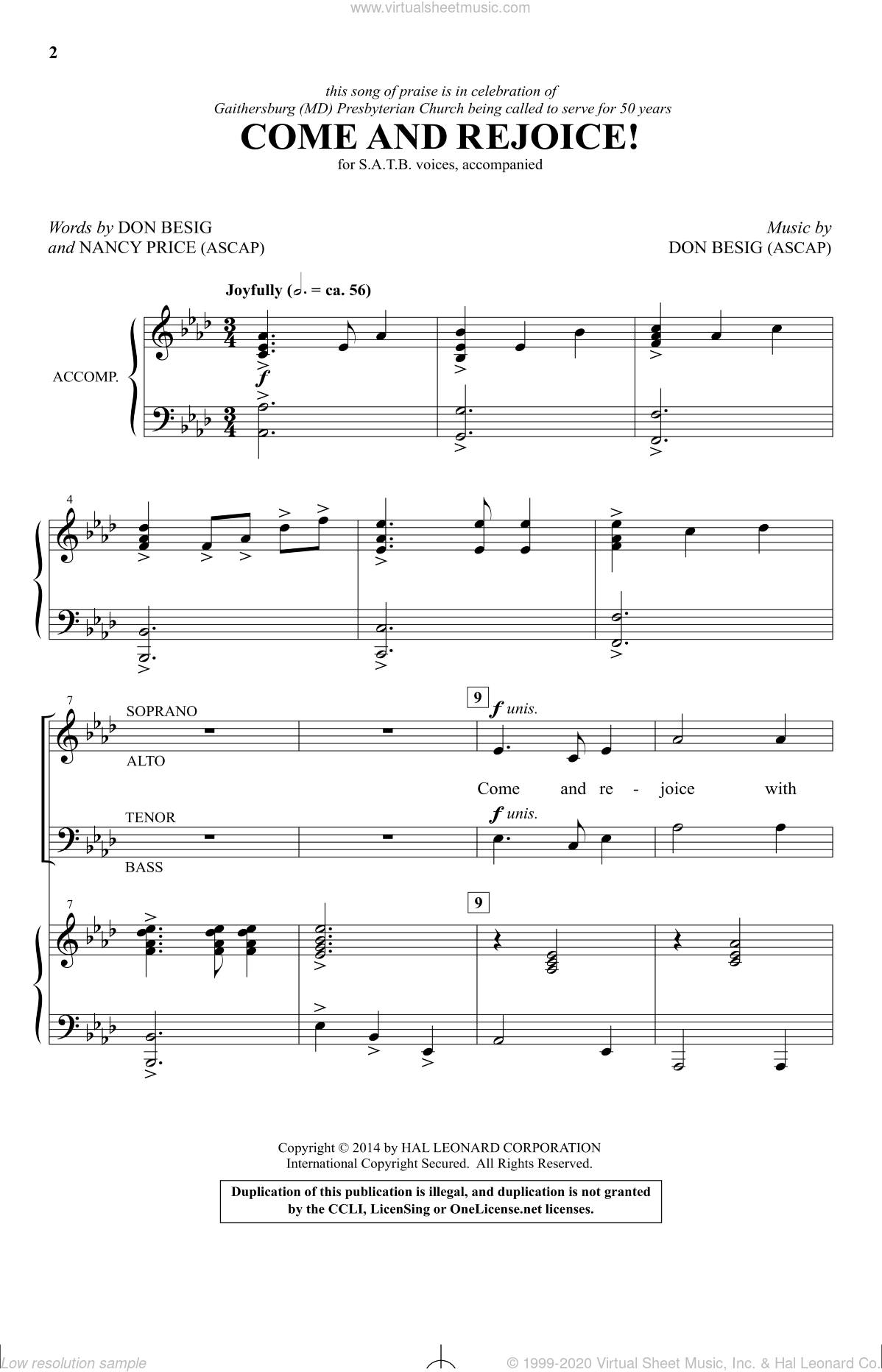 Come And Rejoice! sheet music for choir and piano (SATB) by Nancy Price and Don Besig. Score Image Preview.
