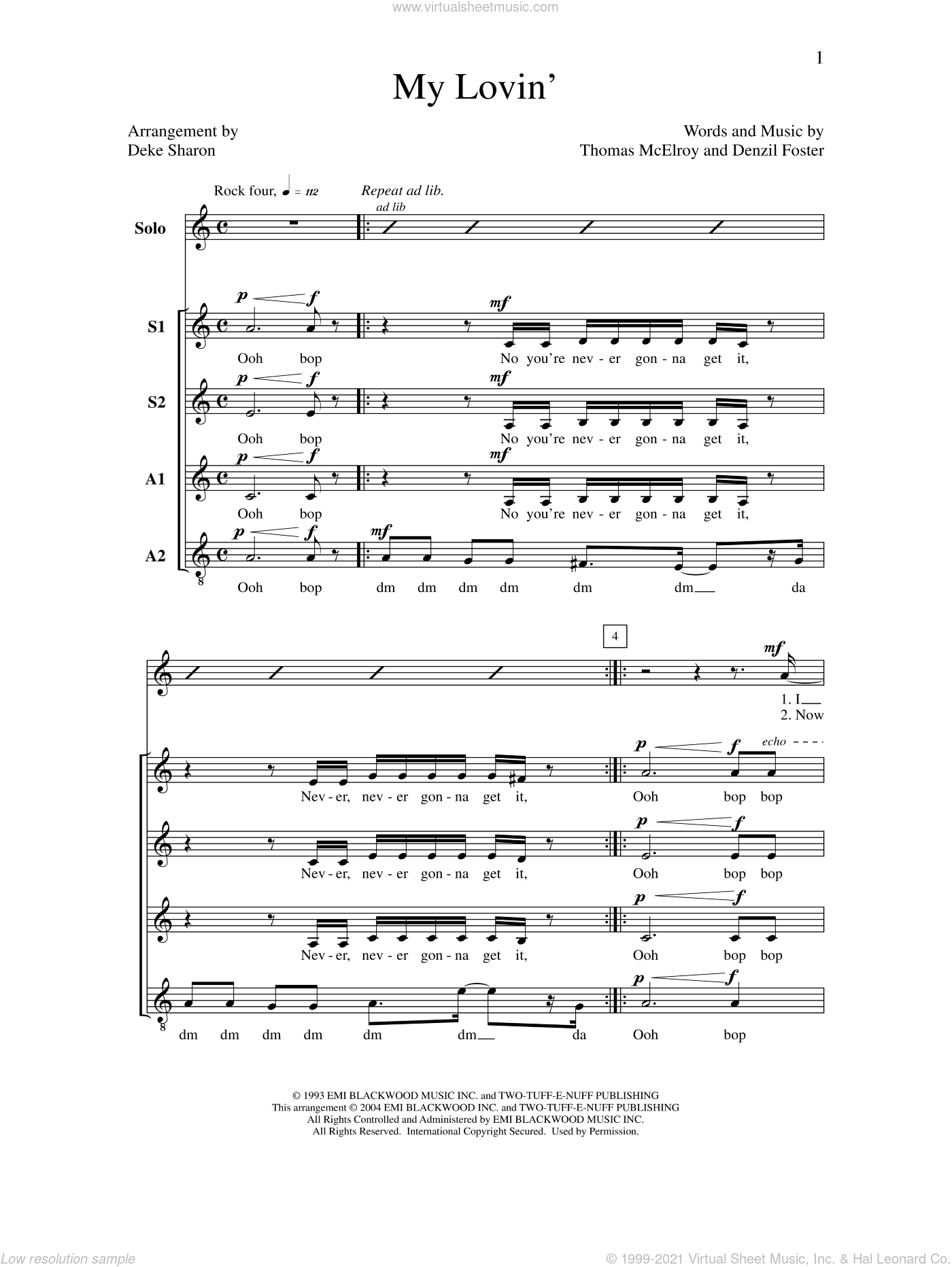 My Lovin' sheet music for choir by Deke Sharon, Anne Raugh, Denzil Foster, En Vogue and Thomas McElroy, intermediate
