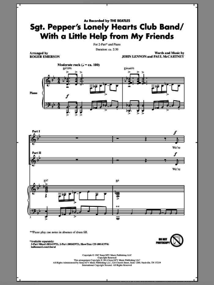 Sgt. Pepper's Lonely Hearts Club Band sheet music for choir (2-Part) by Roger Emerson, John Lennon, Paul McCartney and The Beatles, intermediate duet