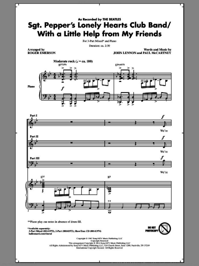 Sgt. Pepper's Lonely Hearts Club Band sheet music for choir and piano (chamber ensemble) by Roger Emerson, John Lennon, Paul McCartney and The Beatles. Score Image Preview.