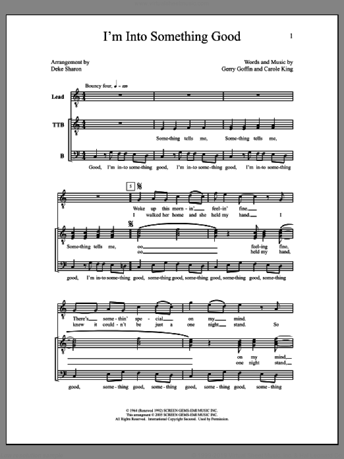 I'm into Something Good sheet music for choir by Deke Sharon, Anne Raugh, Carole King and Gerry Goffin, intermediate