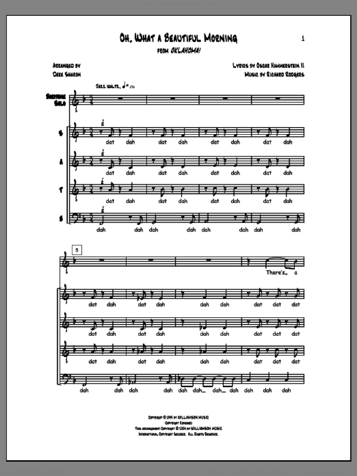 Oh, What a Beautiful Morning sheet music for choir (a cappella) by Deke Sharon