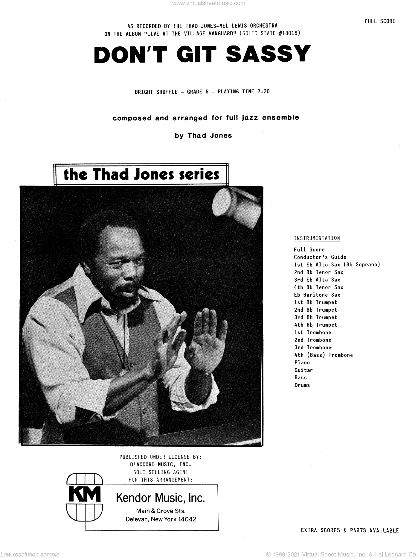 Don't Git Sassy sheet music for jazz band (full score) by Thad Jones