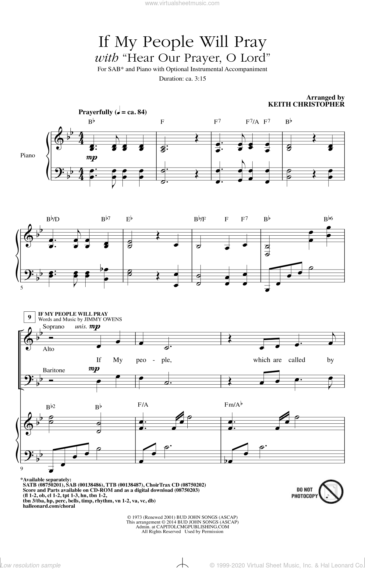 Hear Our Prayer, O Lord sheet music for choir (SAB: soprano, alto, bass) by Keith Christopher, Ginny Owens and George Whelpton, intermediate skill level