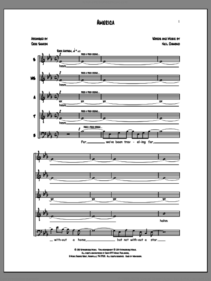 America sheet music for choir (a cappella) by Deke Sharon, Anne Raugh and Neil Diamond. Score Image Preview.