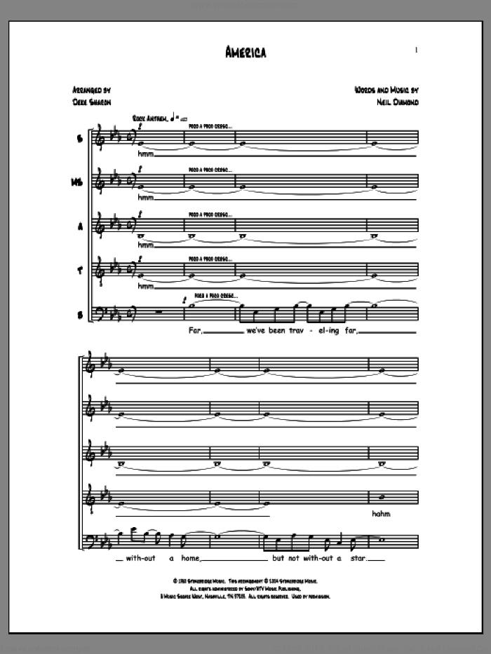 America (arr. Neil Diamond) sheet music for choir by Deke Sharon, Anne Raugh and Neil Diamond, intermediate skill level