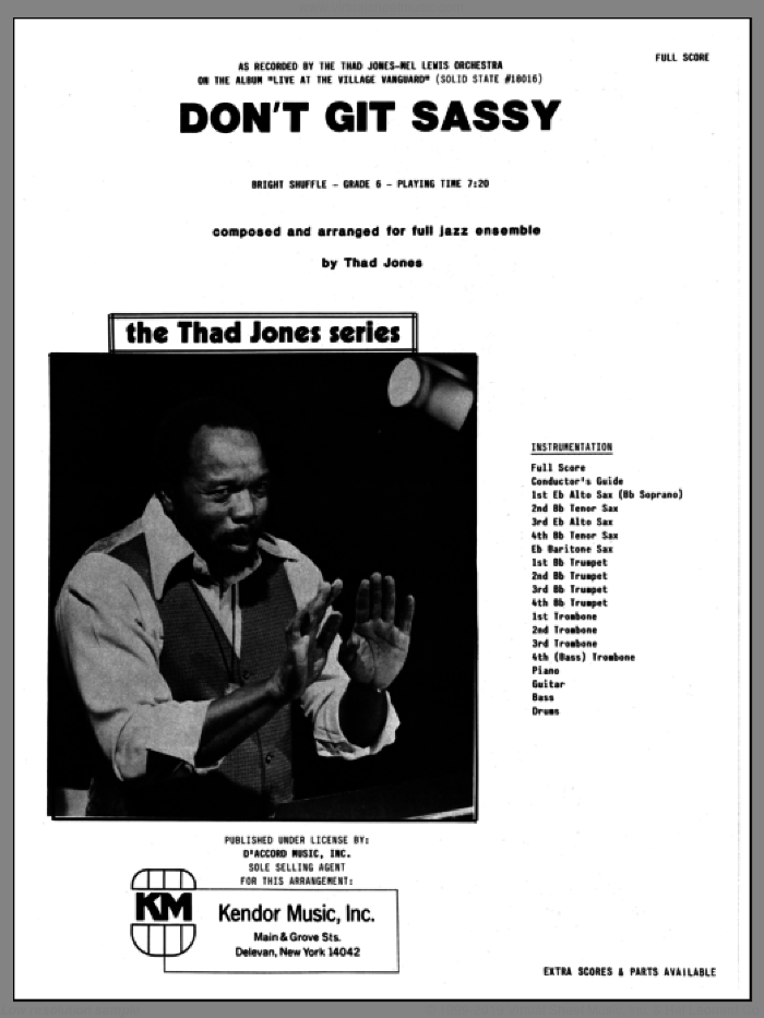 Don't Git Sassy (COMPLETE) sheet music for jazz band by Thad Jones, intermediate skill level