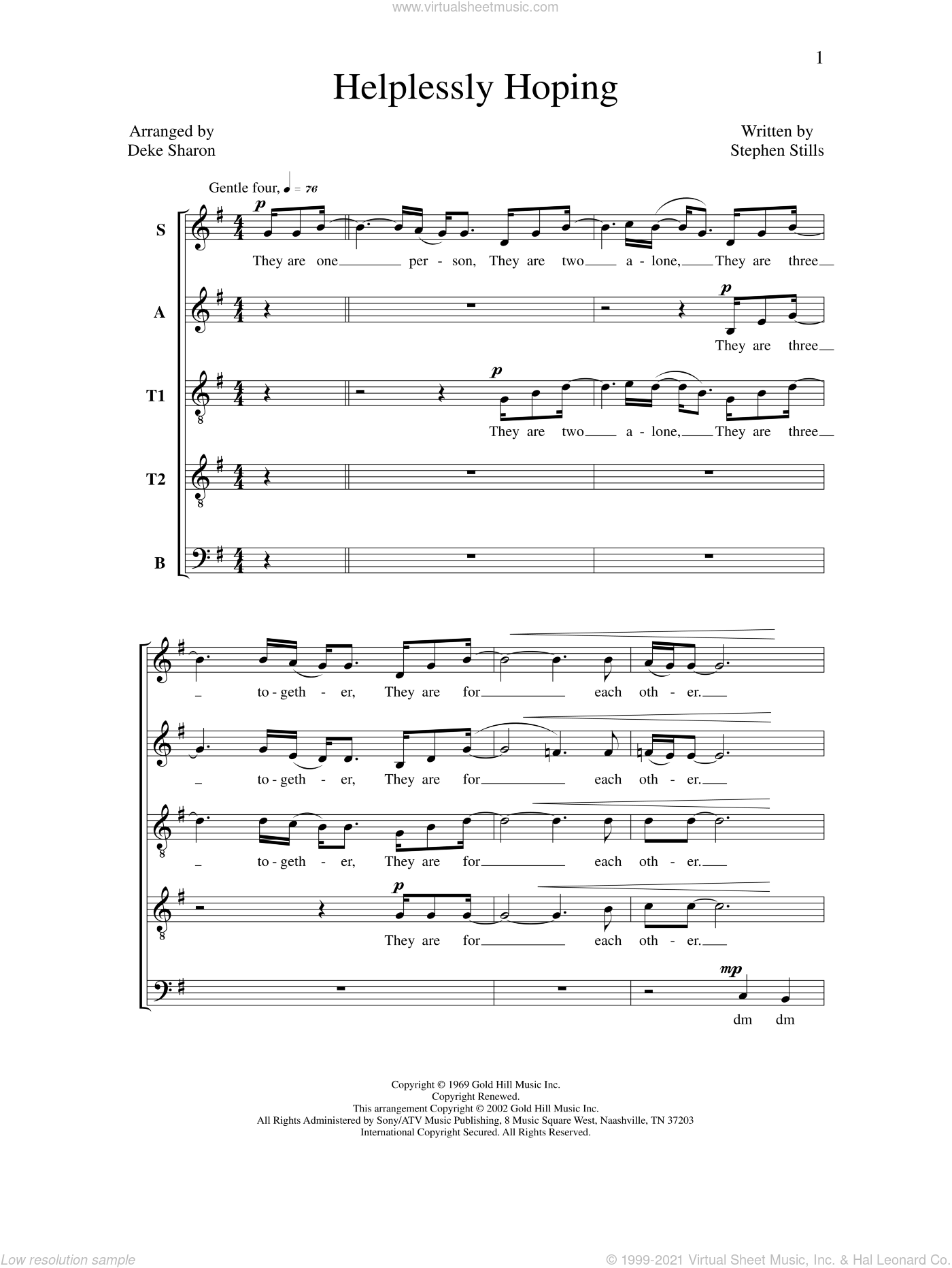 Helplessly Hoping sheet music for choir by Deke Sharon, Anne Raugh and Stephen Stills, intermediate skill level
