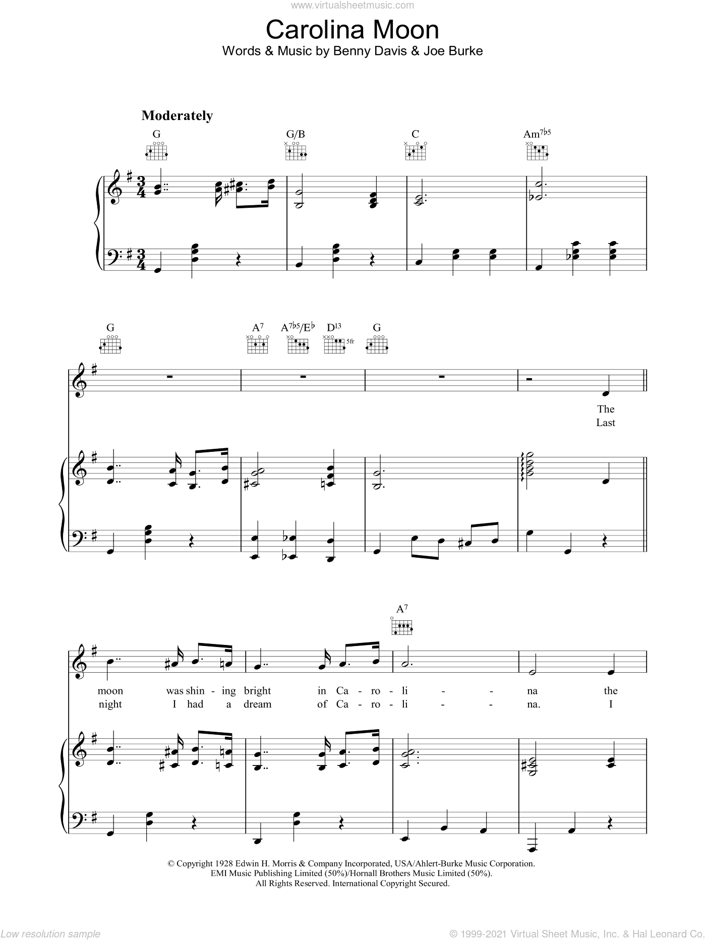 Carolina Moon sheet music for voice, piano or guitar by Benny Davis and Joe Burke. Score Image Preview.