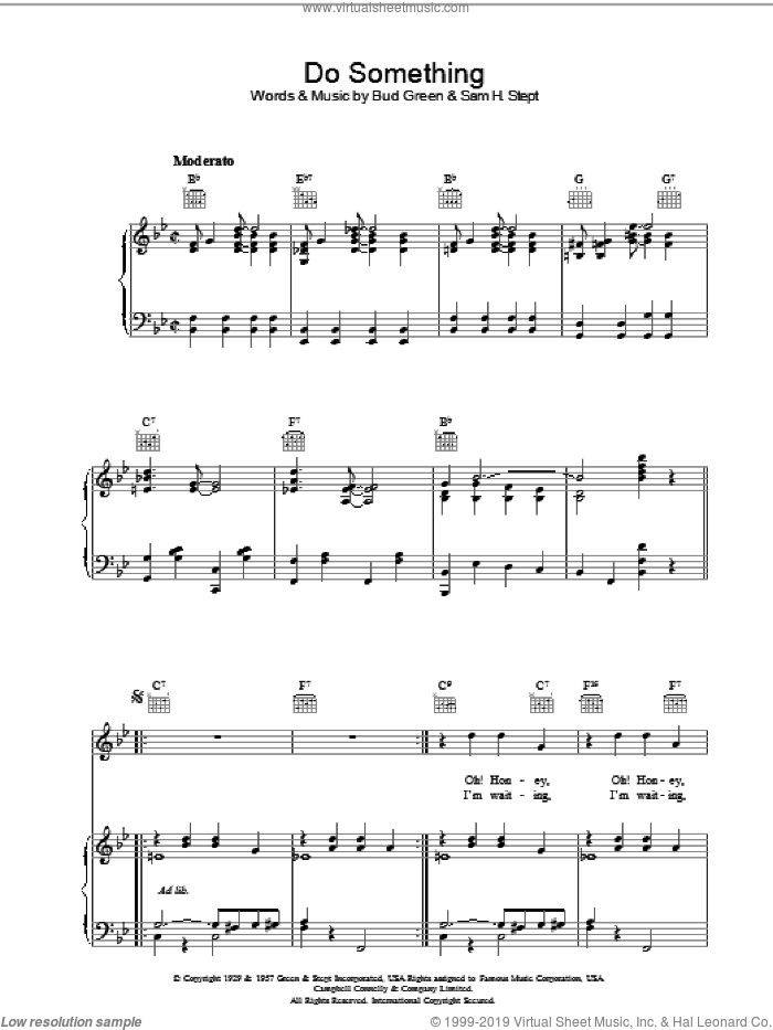 Do Something sheet music for voice, piano or guitar by Bud Green and Sam H. Stept, intermediate