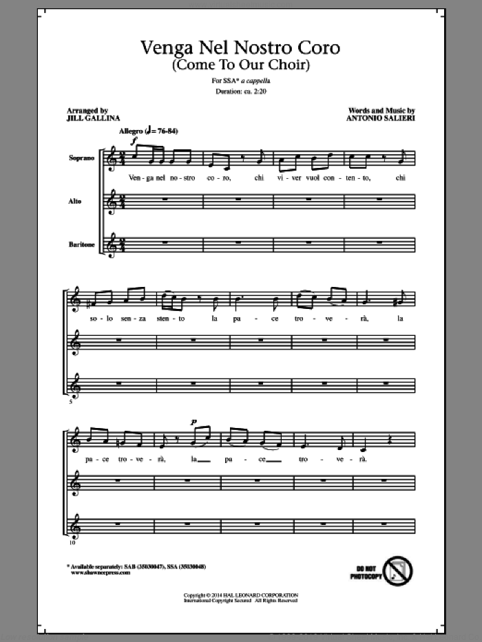 Venga Nel Nostro Coro sheet music for choir (SSA: soprano, alto) by Jill Gallina and Antonio Salieri, intermediate skill level