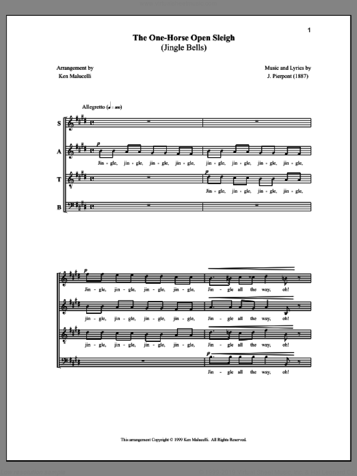 The One-Horse Open Sleigh (Jingle Bells) sheet music for choir by Anne Raugh, James Pierpont and Ken Malucelli, intermediate