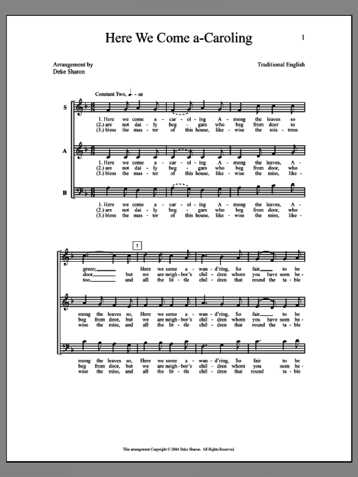 Here We Come A-Caroling sheet music for choir by Deke Sharon and Anne Raugh. Score Image Preview.