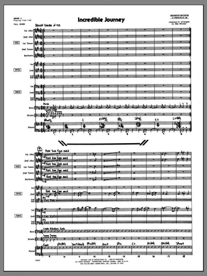 Incredible Journey (COMPLETE) sheet music for jazz band by Bob Mintzer, intermediate skill level