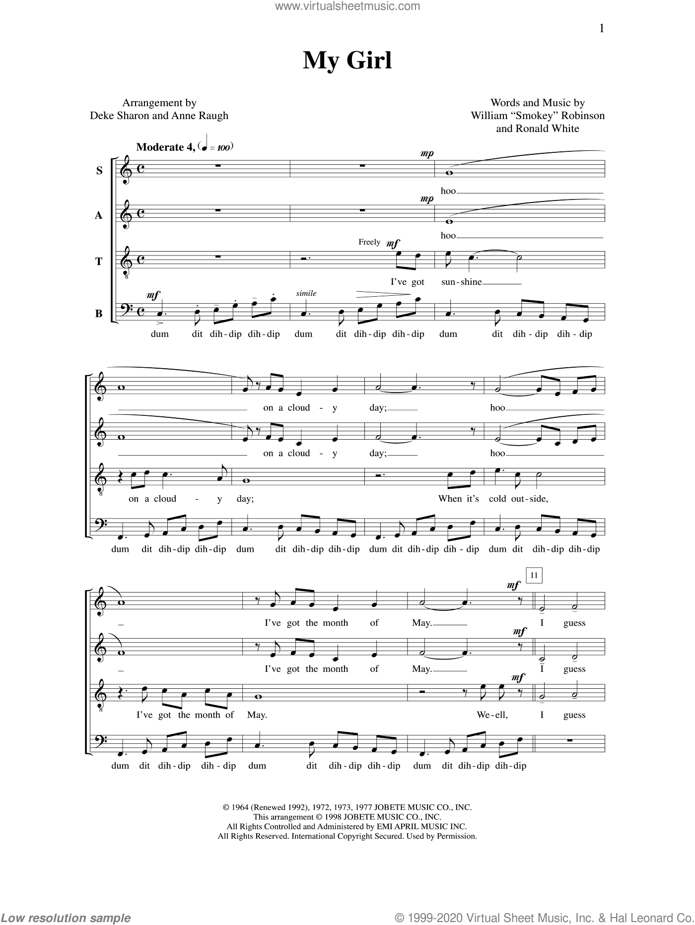 My Girl sheet music for choir (a cappella) by Deke Sharon, Anne Raugh and Ronald White. Score Image Preview.