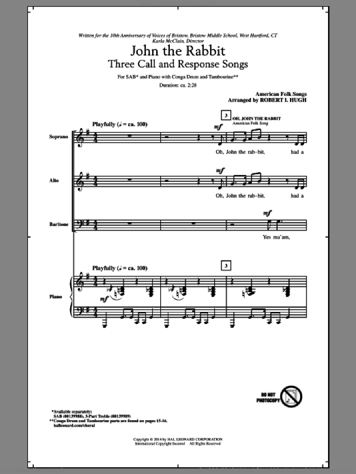 Oh, John The Rabbit sheet music for choir (SAB: soprano, alto, bass) by Robert Hugh and African-American Folksong, intermediate skill level