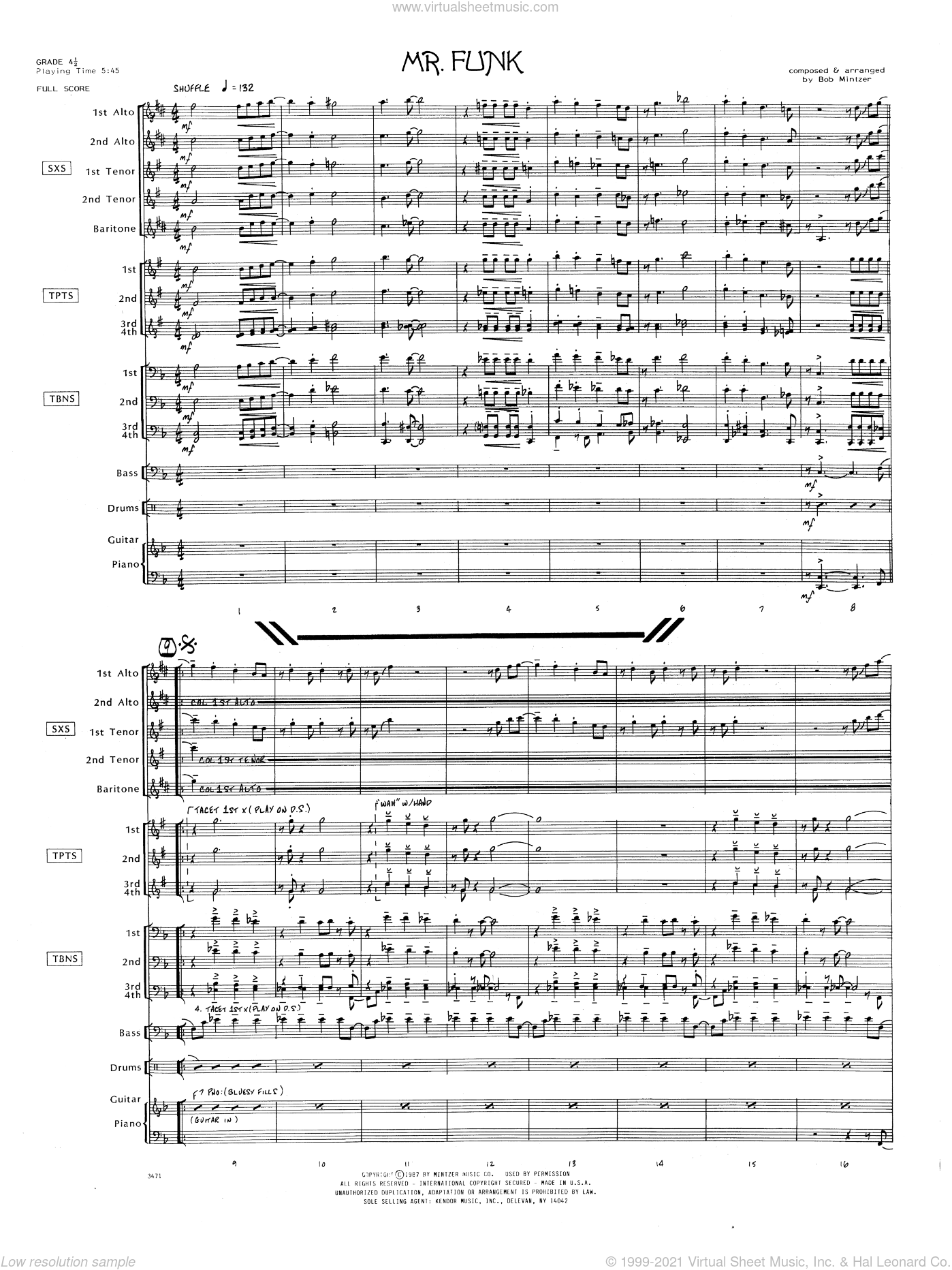 Mr. Funk sheet music for jazz band (full score) by Bob Mintzer