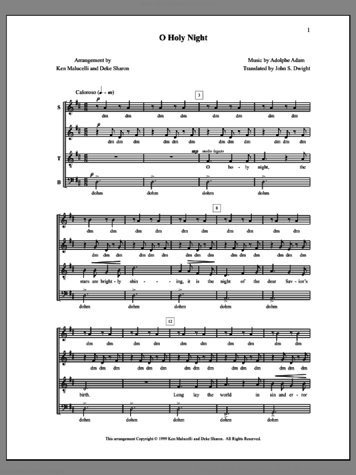 O Holy Night sheet music for choir (a cappella) by Deke Sharon