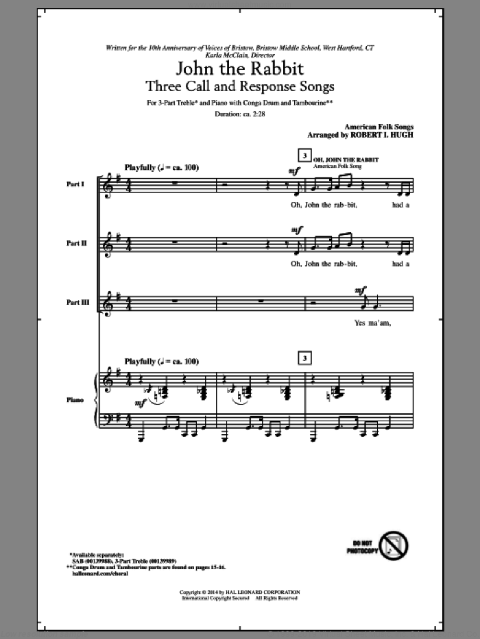 Oh, John The Rabbit sheet music for choir (3-Part Treble) by Robert I. Hugh, intermediate. Score Image Preview.