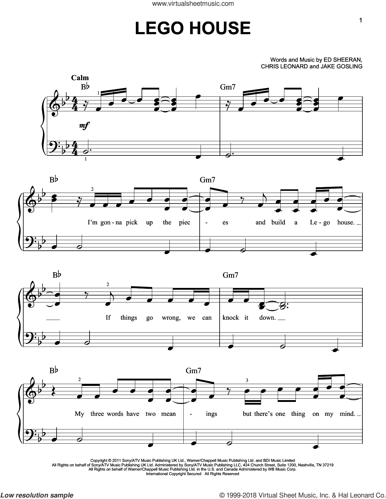 Lego House sheet music for piano solo by Ed Sheeran, Chris Leonard and Jake Gosling, easy skill level