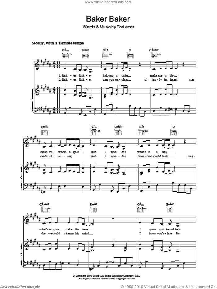 Baker Baker sheet music for voice, piano or guitar by Tori Amos, intermediate skill level